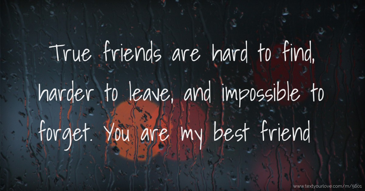 True friends are hard to find, harder to leave, and