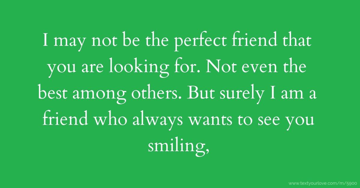 I May Not Be The Perfect Friend That You Are Looking