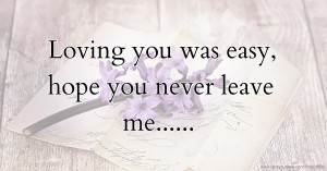 Loving you was easy, hope you never leave me......