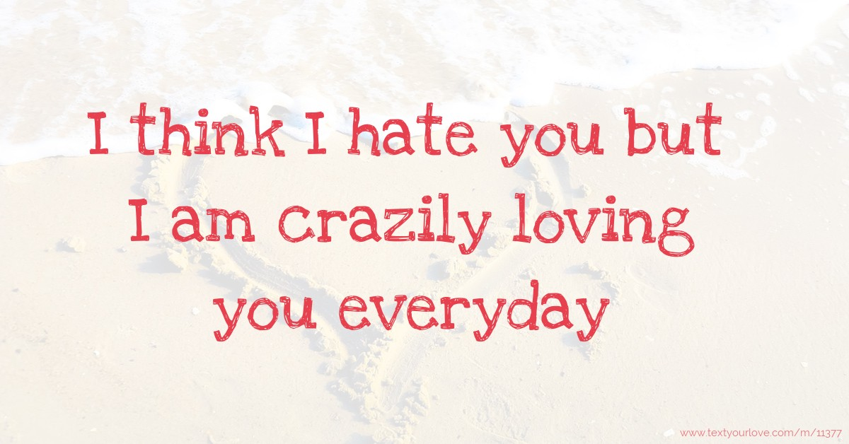 I Think I Hate You But I Am Crazily Loving You Everyday Text