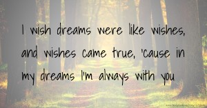 I wish dreams were like wishes, and wishes came true, 'cause in my dreams I'm always with you.