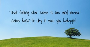 That falling star came to me and never came back to sky it was you babygirl