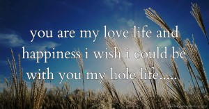you are my love life and happiness  i wish i could be with you my hole life.....