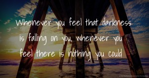Whenever you feel that darkness is falling on you, whenever you feel there is nothing you could