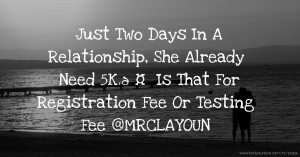 Just Two Days In A Relationship, She Already Need 5K.🤔🙄🙄 Is That For Registration Fee Or Testing Fee😒😒 @MRCLAYOUN