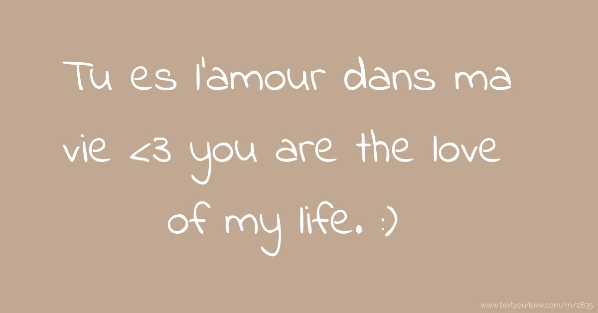 Tu Es L Amour Dans Ma Vie 3 You Are The Love Of My