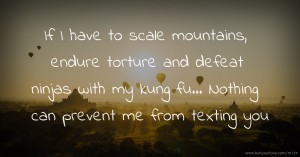 If I have to scale mountains, endure torture and defeat ninjas with my kung fu... Nothing can prevent me from texting you.