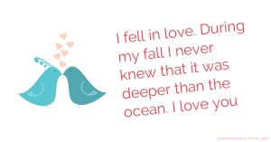 I fell in love. During my fall I never knew that it was deeper than the ocean. I love you.