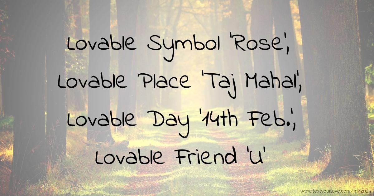 Lovable Symbol Rose Lovable Place Taj Mahal Text Message
