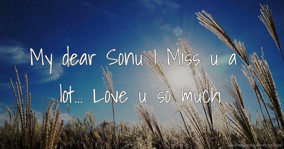 my dear sonu i miss u a lot love u so much | text messagenik's