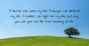 A doctor can save my life. A lawyer can defend my life. A soldier can fight for my life, but only you can give me the true meaning of life.