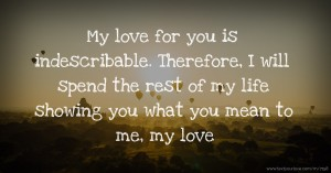 My love for you is indescribable. Therefore, I will spend the rest of my life showing you what you mean to me, my love.