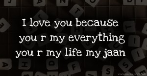 I love you because you r my everything you r my life my jaan