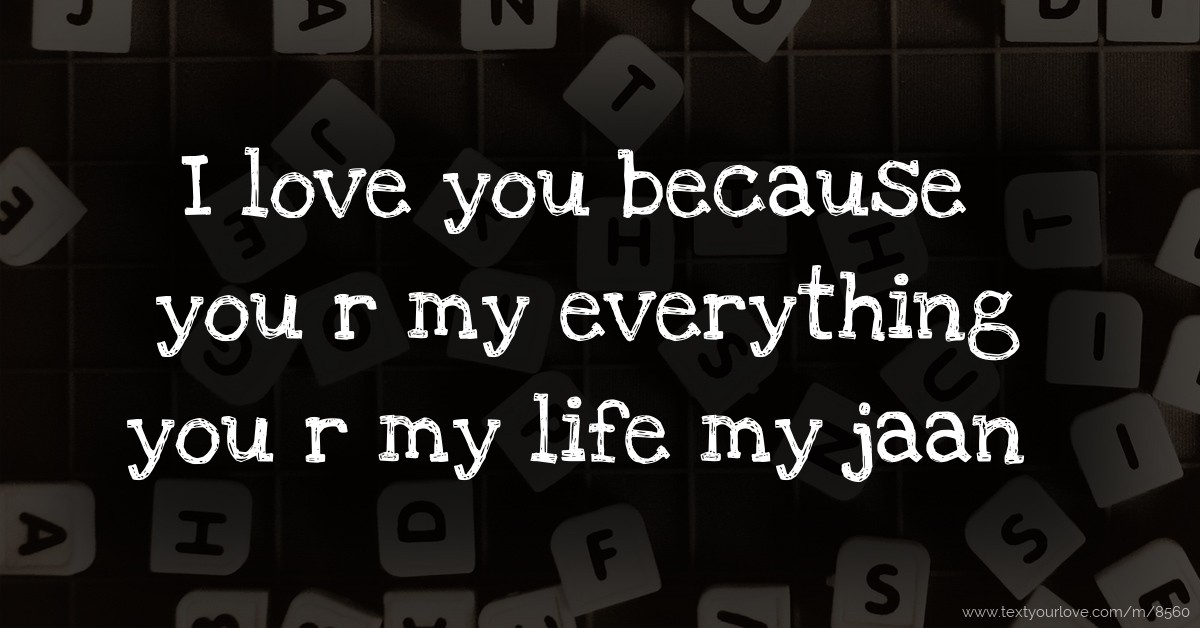 I Love You Because You R My Everything You R My Life My Text