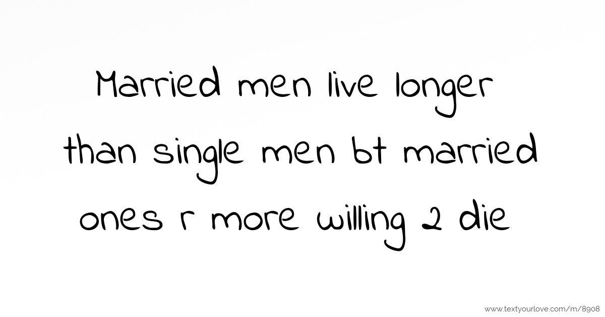 do married men live longer than single men