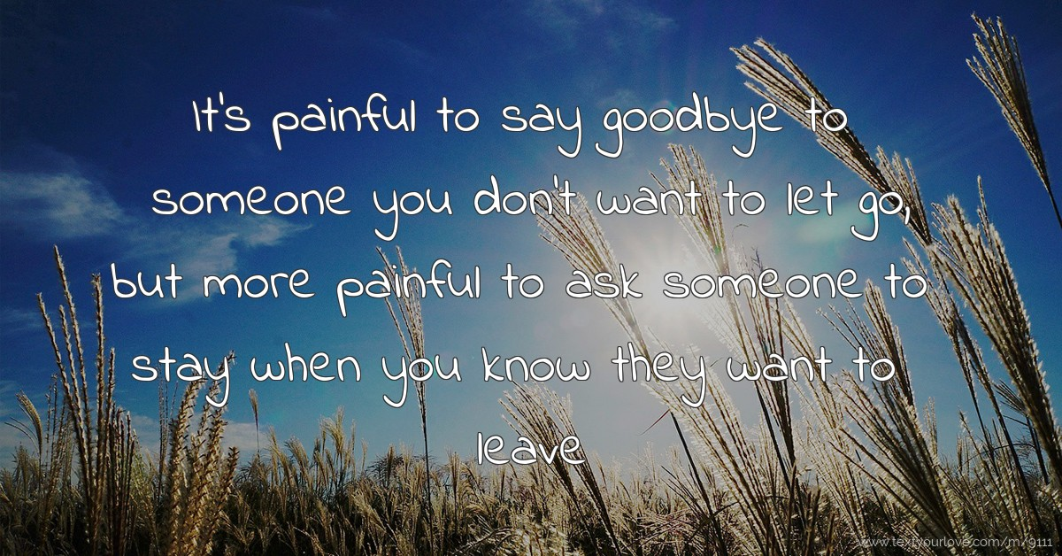 Its Painful To Say Goodbye To Someone You Dont Want Text