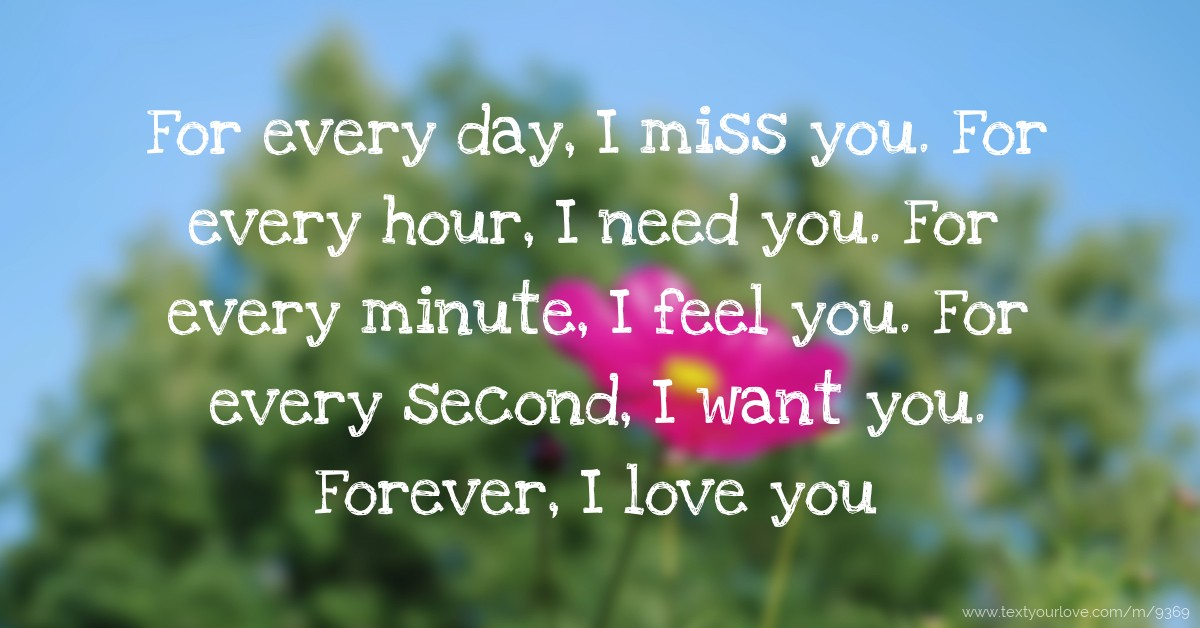 For Every Day I Miss You For Every Hour I Need You Text